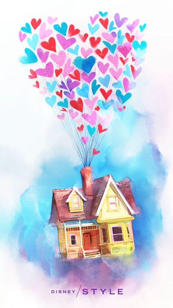 Очень красивые картинки Дом на шариках для срисовки, раскраски - подборка 8