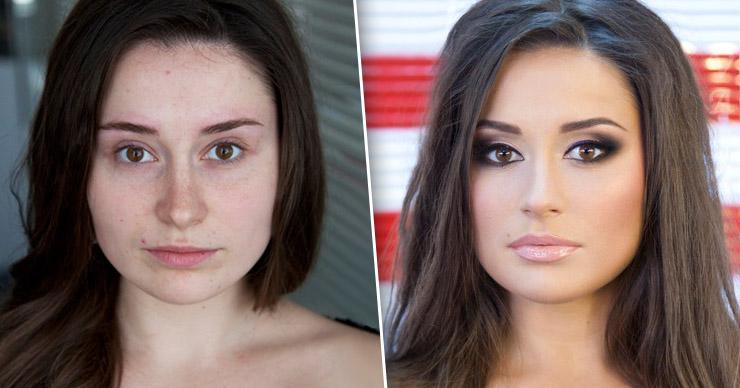 Сравнение девушек с макияжем и без - прикольные фото, картинки 16