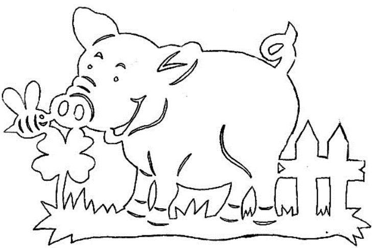 Трафареты на Новый 2019 год Свиньи на окно 13
