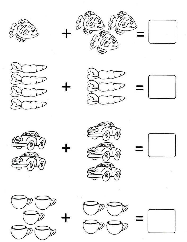 Задачи в картинках для 1 класса по математике в пределах 10 - подборка 13