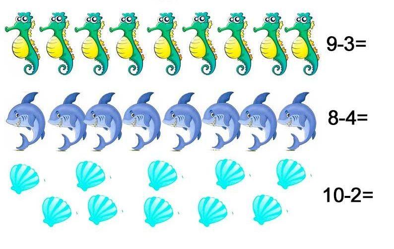 Задачи в картинках для 1 класса по математике в пределах 10 - подборка 22