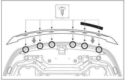Как крепить дефлектор к внешней части капота 2
