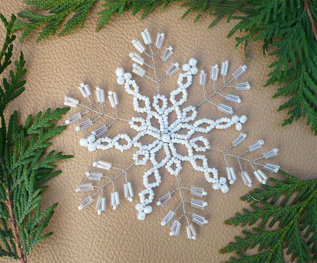 Как сплести новогодние украшения из бисера своими руками 1