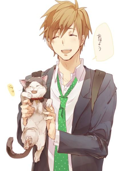 Красивые арты парней и девушек с котами, кошками - подборка 10