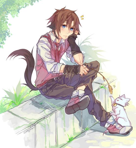 Красивые арты парней и девушек с котами, кошками - подборка 12