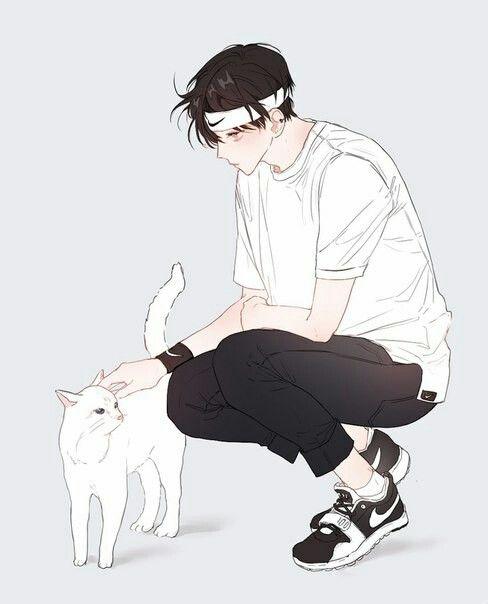 Красивые арты парней и девушек с котами, кошками - подборка 16