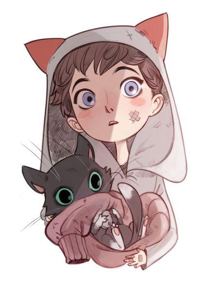 Красивые арты парней и девушек с котами, кошками - подборка 19