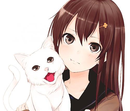 Красивые арты парней и девушек с котами, кошками - подборка 2