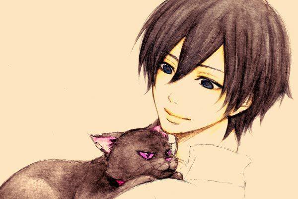 Красивые арты парней и девушек с котами, кошками - подборка 4
