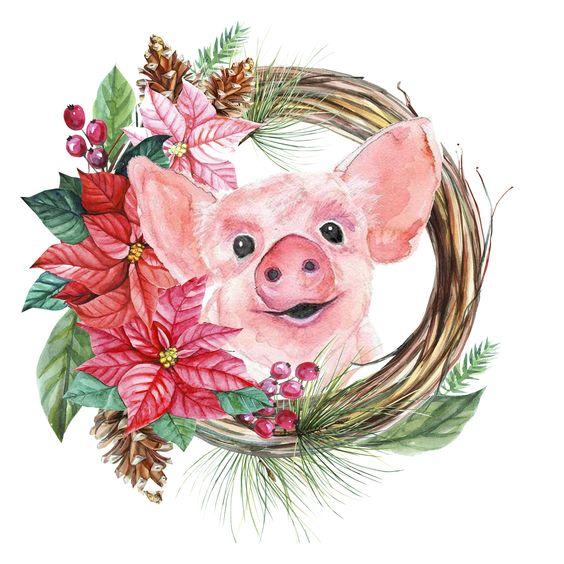 Красивые и прикольные картинки на тему Новогодняя свинья - сборка 13