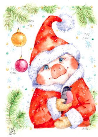 Красивые и прикольные картинки на тему Новогодняя свинья - сборка 9