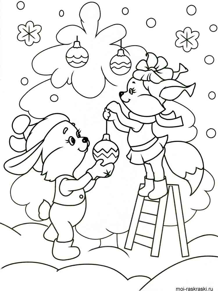 Красивые и прикольные раскраски Новый год 2019 для детей - подборка 10