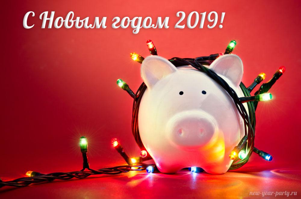 Новогодние открытки 2019 с изображением свиньи - поздравления 11