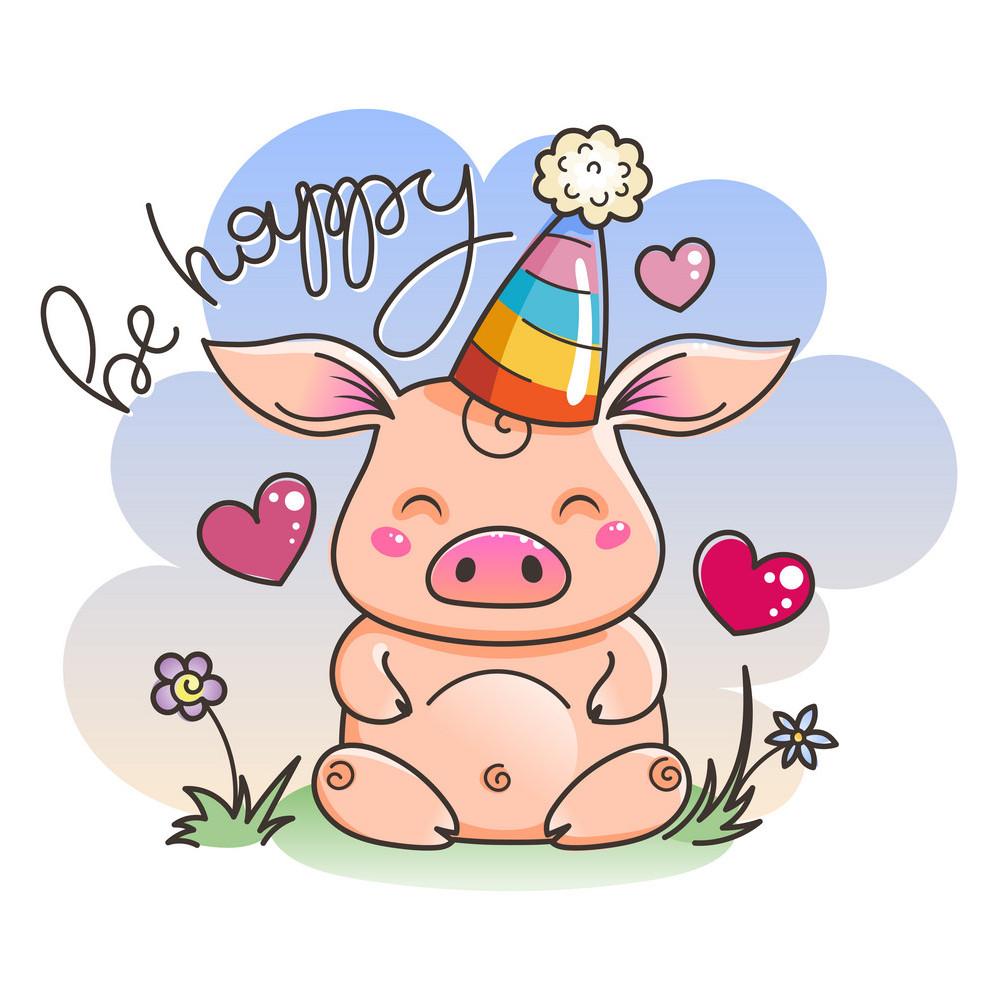 Новогодние открытки 2019 с изображением свиньи - поздравления 12