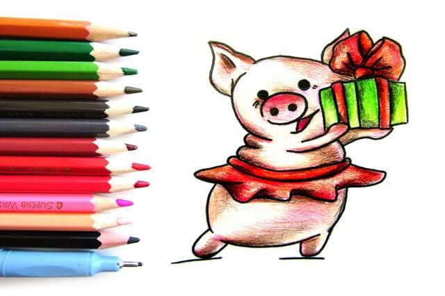 Новый год 2019 картинки и рисунки для срисовки - милая сборка 14