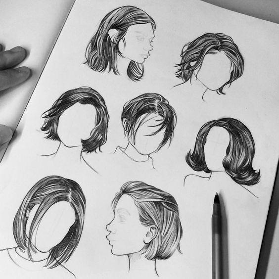 Красивые идеи причесок для срисовки, коллекция 20 картинок 11