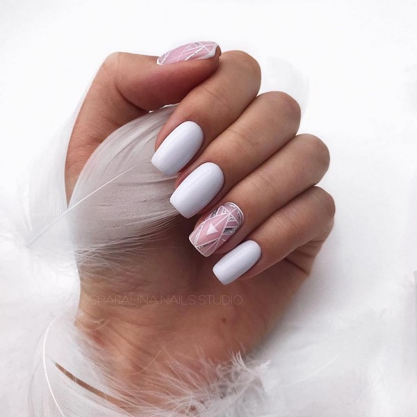 Красивые фото дизайна белых ногтей - подборка 25 картинок 21