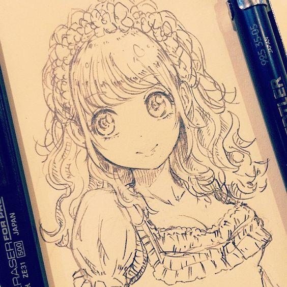 Прикольные и красивые аниме рисунки, картинки для срисовки 19