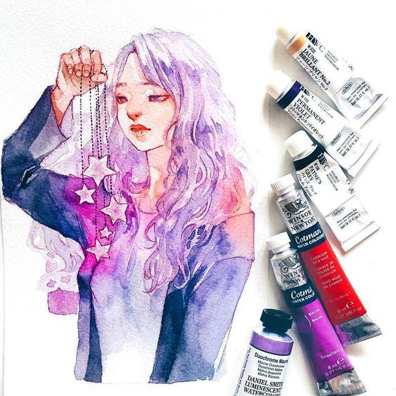 Самые красивые нарисованные арт картинки девушек - сборка 25 фото 10