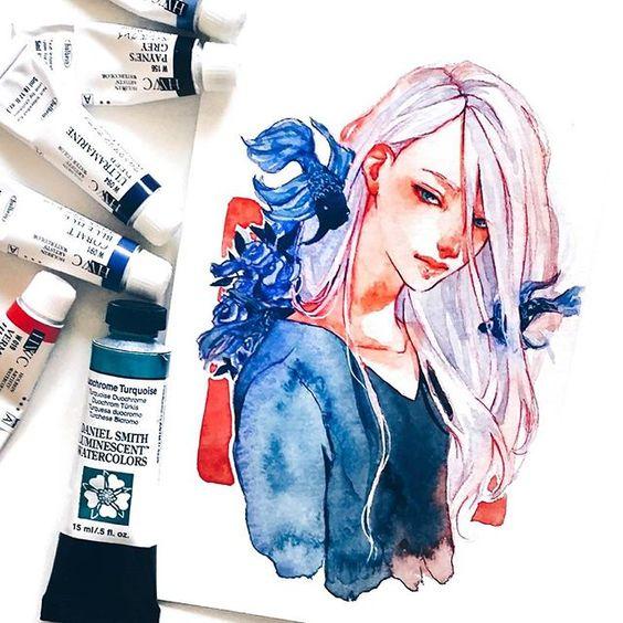 Самые красивые нарисованные арт картинки девушек - сборка 25 фото 13