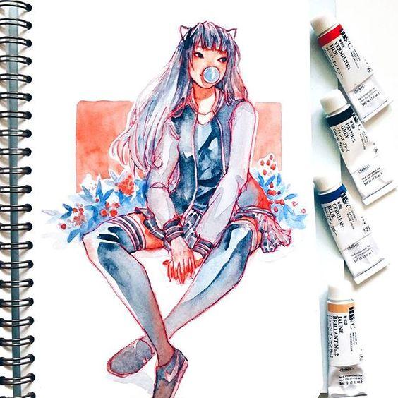 Самые красивые нарисованные арт картинки девушек - сборка 25 фото 14