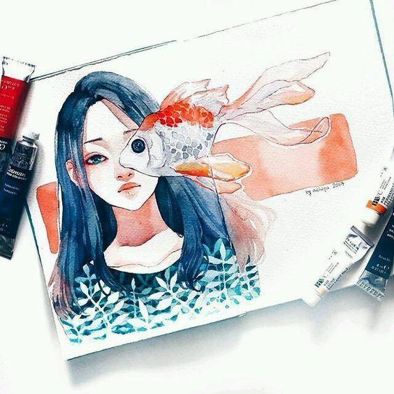 Самые красивые нарисованные арт картинки девушек - сборка 25 фото 15
