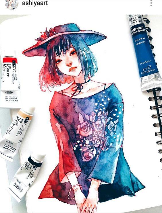 Самые красивые нарисованные арт картинки девушек - сборка 25 фото 17