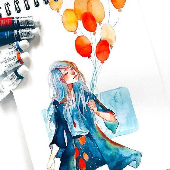 Самые красивые нарисованные арт картинки девушек - сборка 25 фото 2