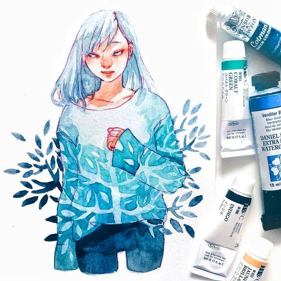 Самые красивые нарисованные арт картинки девушек - сборка 25 фото 21