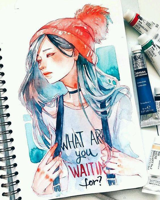 Самые красивые нарисованные арт картинки девушек - сборка 25 фото 25