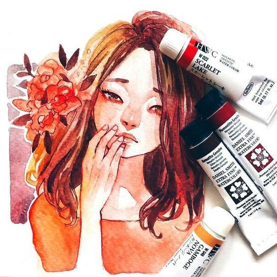 Самые красивые нарисованные арт картинки девушек - сборка 25 фото 26