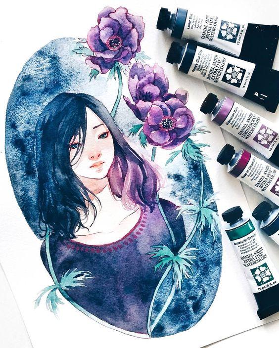Самые красивые нарисованные арт картинки девушек - сборка 25 фото 3