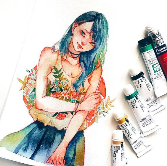 Самые красивые нарисованные арт картинки девушек - сборка 25 фото 9