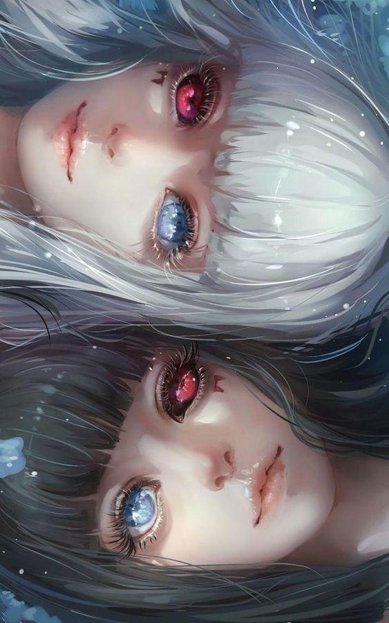 Красивые арт аниме картинки глаза девушек, их лицо - подборка 3
