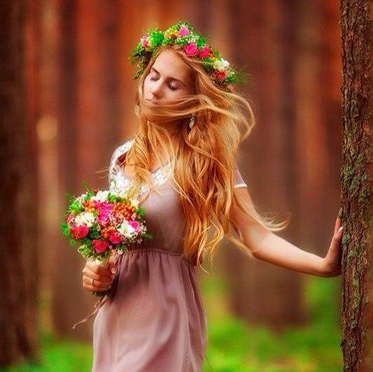 Красивые картинки девушек с цветами - смотреть, скачать бесплатно 14