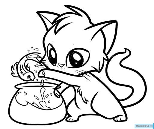 Рисунки для срисовки котята милые и смешные