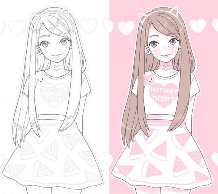 Раскраски для девочек - распечатать, скачать, красивые ...