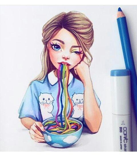 Красивые девушки для срисовки - картинки, рисунки, простые и легкие 11