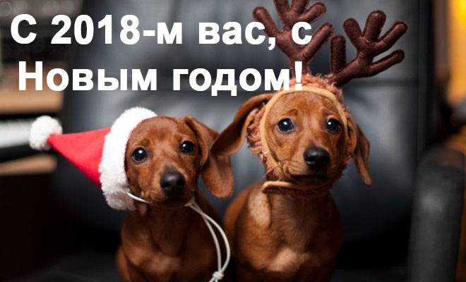 Поздравления С Новым годом собаки 2018 - картинки и открытки 13