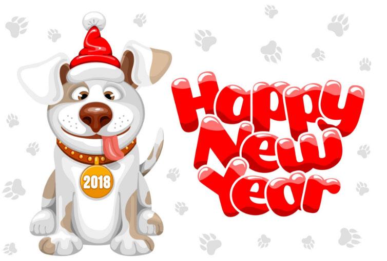 Поздравления С Новым годом собаки 2018 - картинки и открытки 6