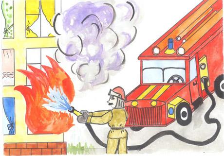 Красивые и интересные рисунки на тему пожарная безопасность - для детей 9