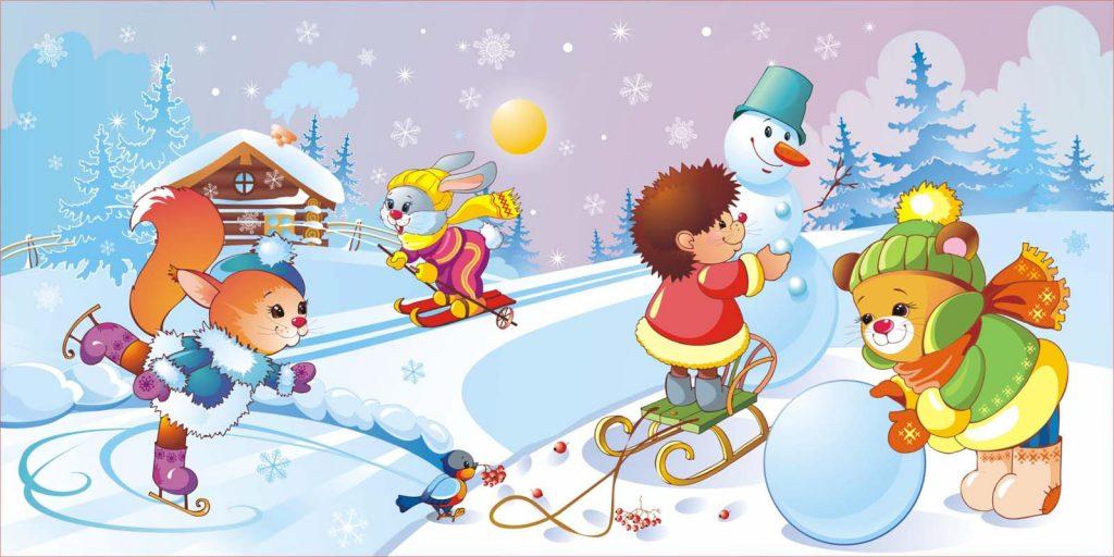 Красивые и прикольные рисунки на тему зимние забавы - скачать бесплатно 12