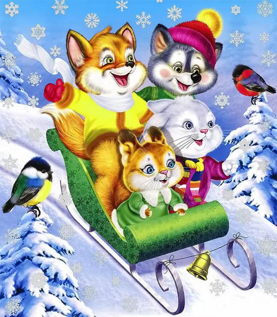 Красивые и прикольные рисунки на тему зимние забавы - скачать бесплатно 3