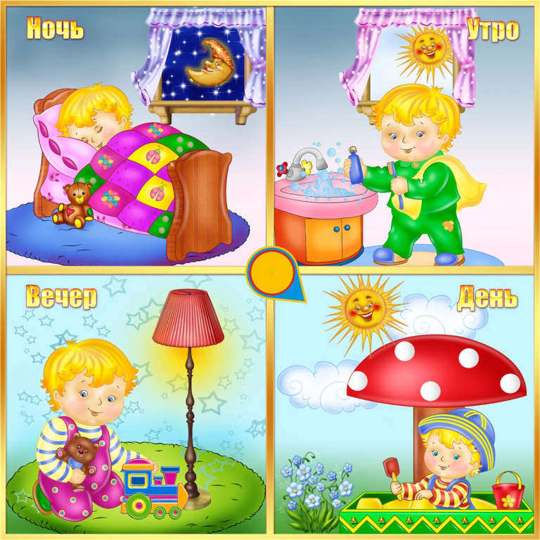 Открыток, время суток по часам утро день вечер ночь картинки для детей