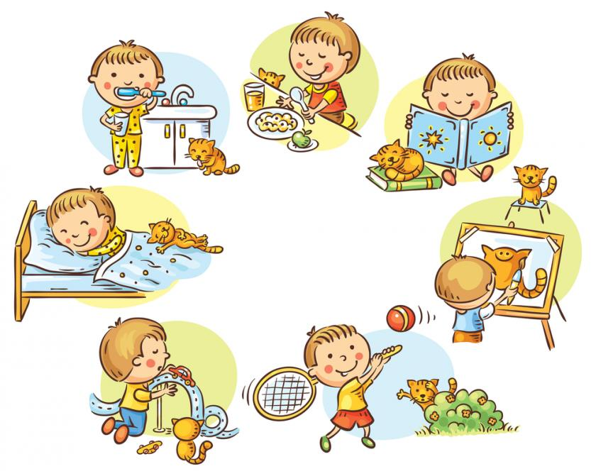 Режим дня - красивые картинки для детей для детского сада 7