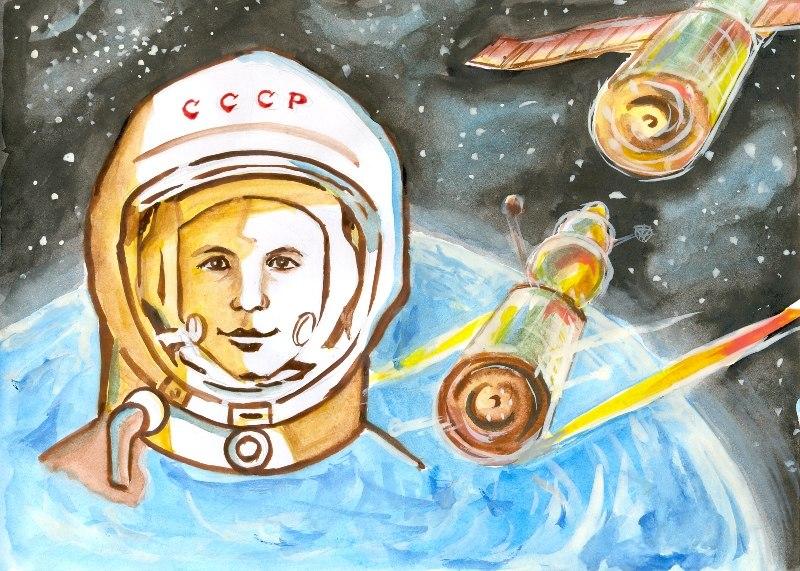 Рисунки для детей ко дню Космонавтики - самые красивые и прикольные 10