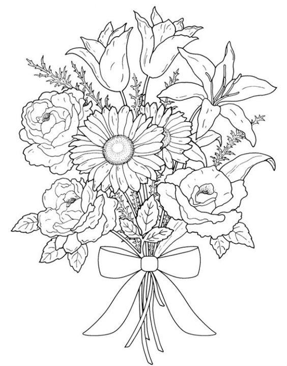 Картинки для срисовки цветы, цветочки - красивые и прикольные 6