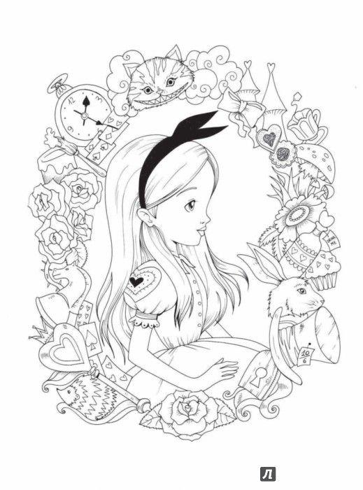 Красивые картинки для срисовки Алиса в Стране чудес - подборка 8