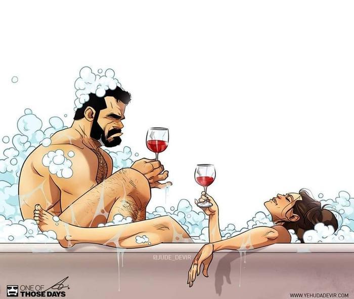 Забавные комиксы Иегуды Ади Девира про его веселую жизнь с супругой 32