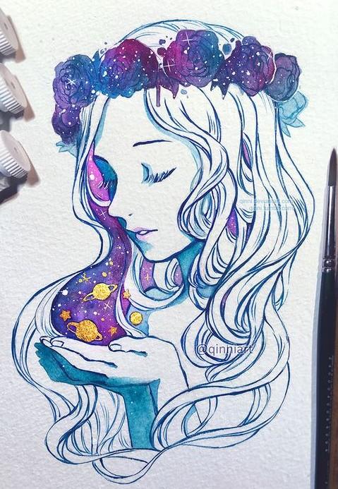 Красивые и прикольные арты для срисовки в личный дневник - сборка 15
